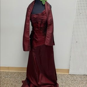 Long formal vintage merlot dress with shawl
